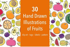 30 Hand Drawn Illustrations of Fruit