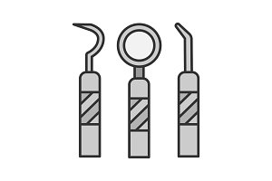 Dental instruments color icon