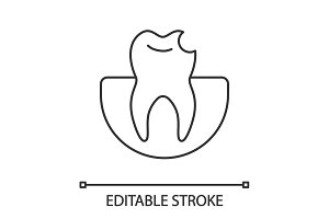 Broken tooth linear icon
