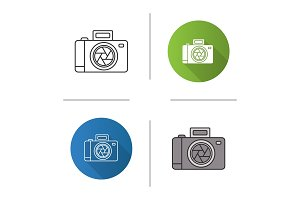 Professional photo camera icon