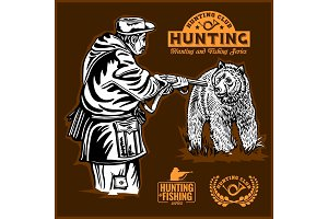Bear hunting and monochrome labels