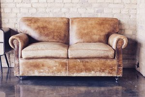 vintage style leather sofa