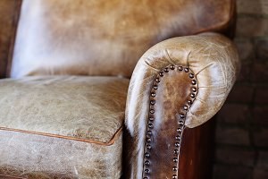 Closeup texture of leather sofa