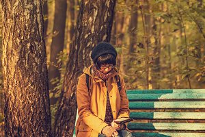 Hipster girl in a park