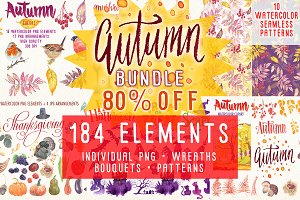 Autumn bundle watercolor clipart