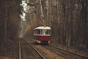 Vintage red tram