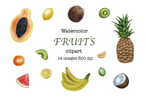Fruits Clipart Watercolor