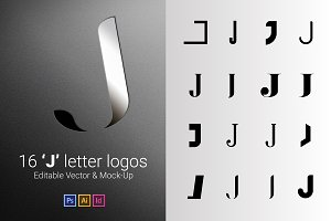 16 J Letter Logos - Vector & Mock-Up