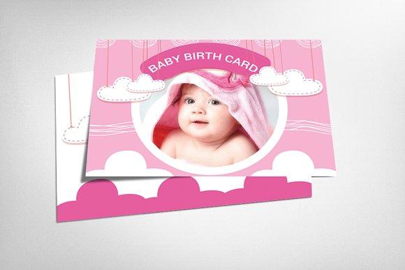 Boy Girl Baby Birth Announcement Card Templates Creative Market