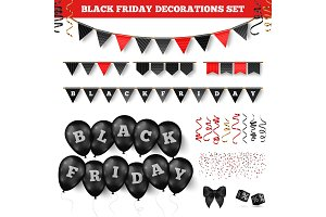 Black friday decorations set