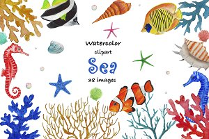 Sea Clipart Watercolor