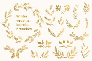 Winter wreaths, laurels, branches