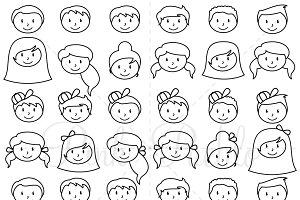 Stick Figure Heads Clipart & Vectors