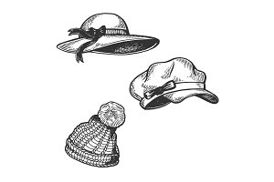 Woman Hats engraving vector