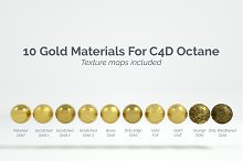 10 Gold Materials For Cinema4D Octan by  in Metal
