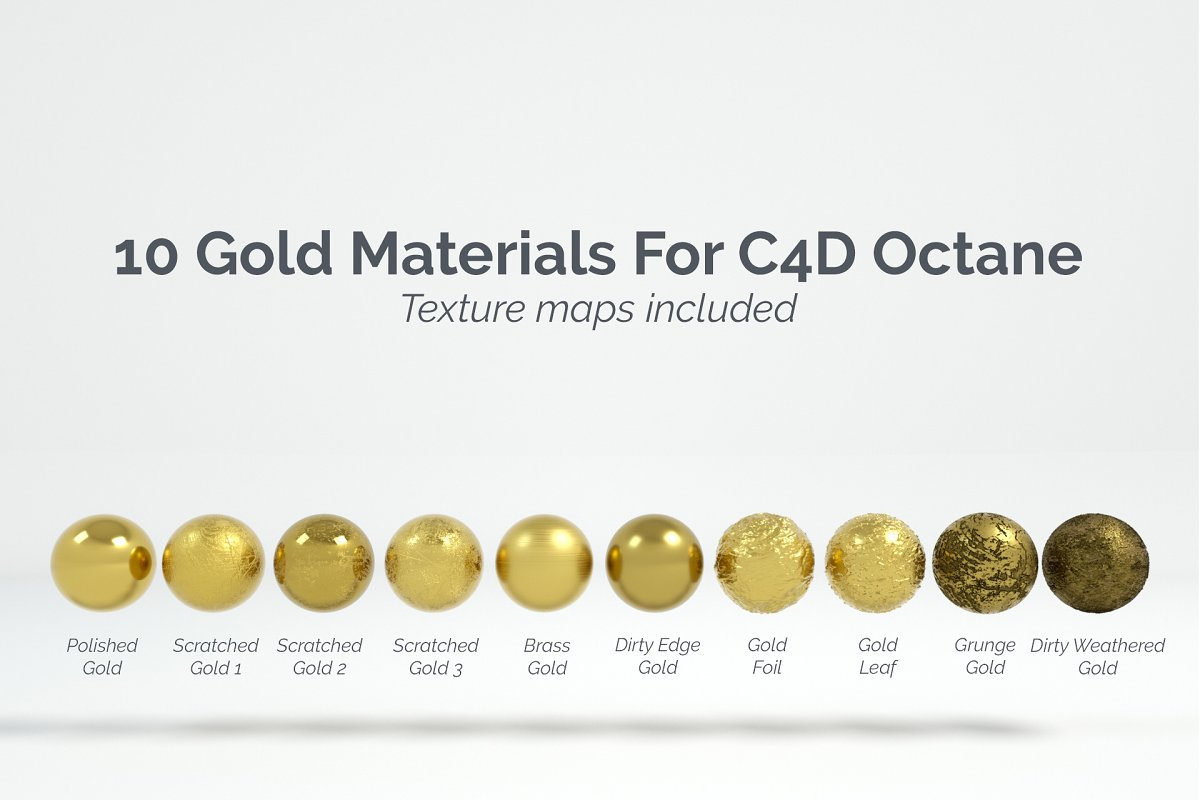 10 Gold Materials For Cinema4D Octan ~ Metal Textures