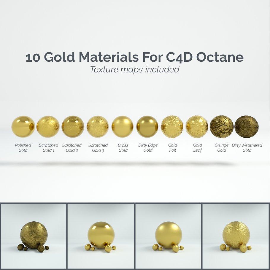 10 Gold Materials For Cinema4D Octan