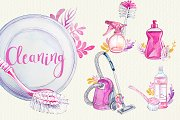 Watercolor Cleaning Clipart Set