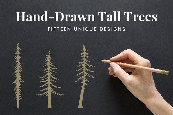 Hand-Drawn Tall Trees