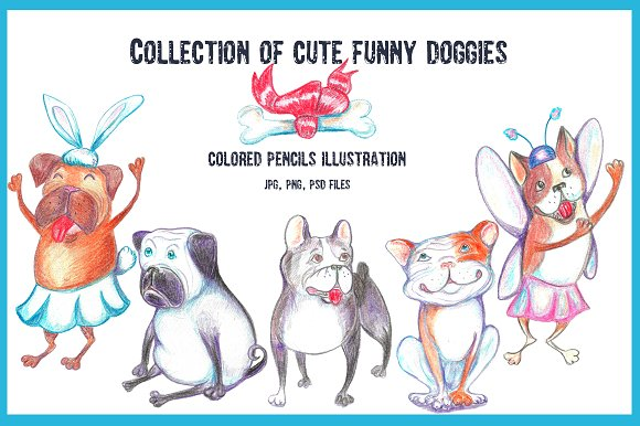 Collection of cute funny doggies.