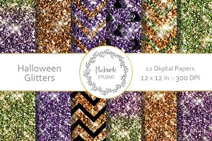 Halloween Glitter digital paper