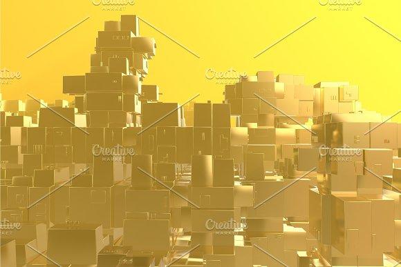Wealth rich concept idea Golden city in Illustrations