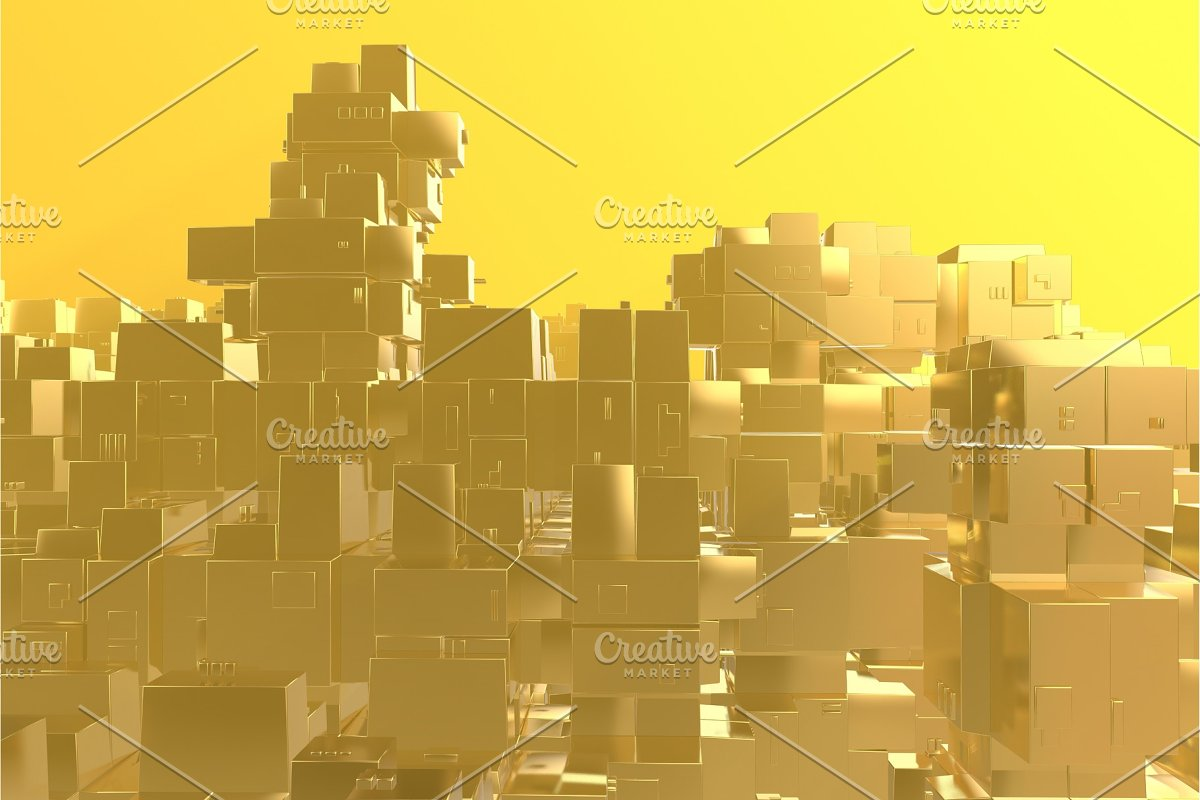 Wealth rich concept idea Golden city in Illustrations - product preview 8