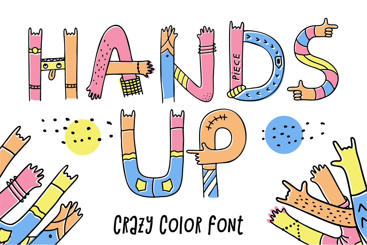 Hands up crazy color font in Display Fonts - product preview 8