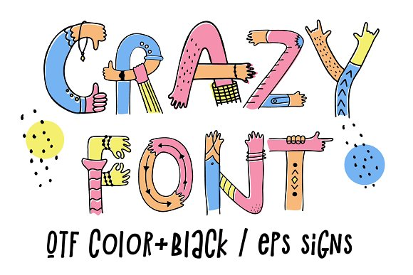 Hands up crazy color font in Display Fonts - product preview 3