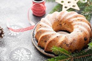 Christmas cake with christmas
