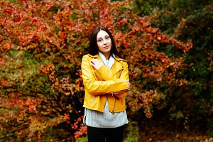 Autumn portrait of girl in the Park