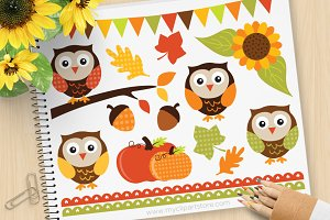 Autumn Owls Vector Clipart, SVG