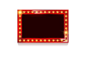 Red frame with light bulbs