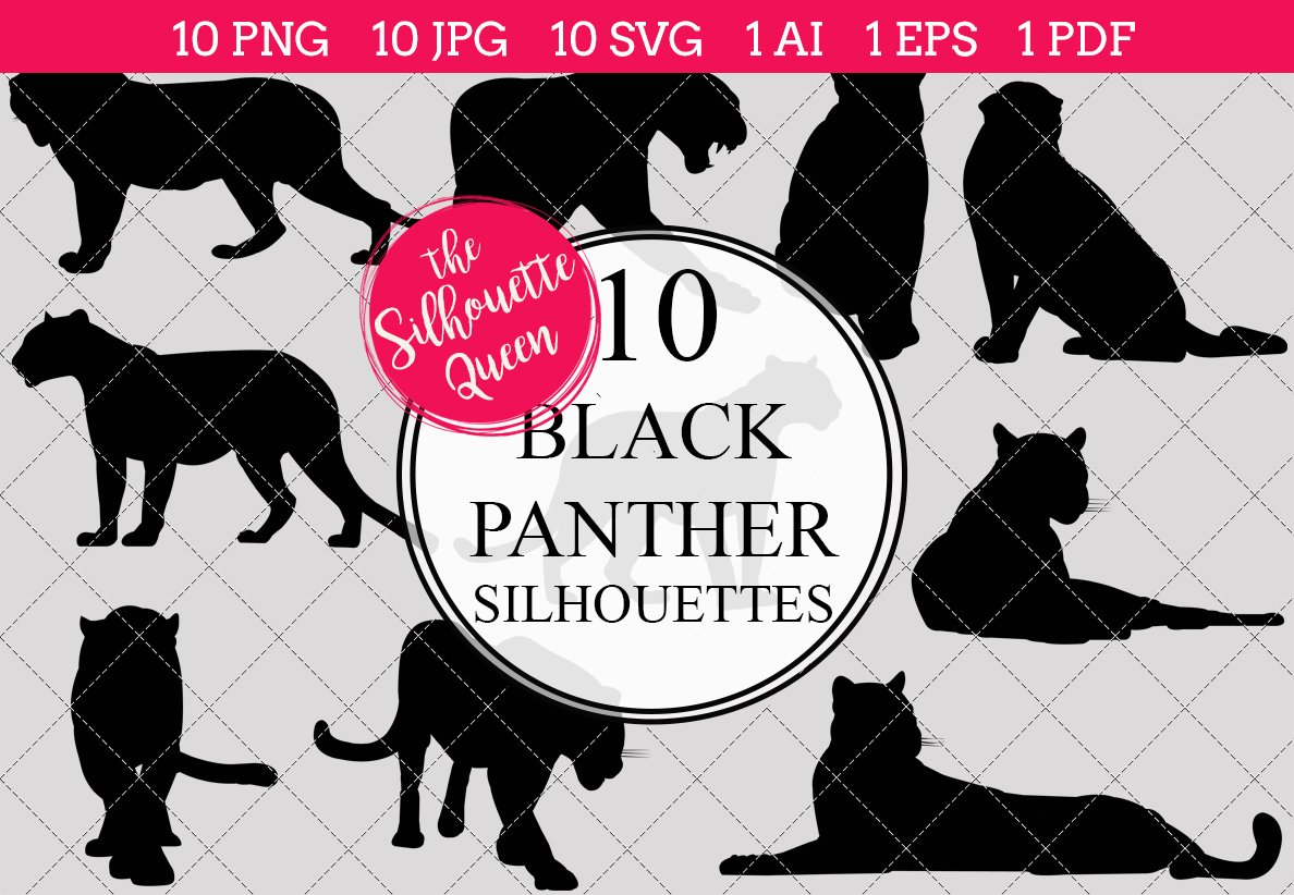 black panther silhouette clipart graphic objects creative market