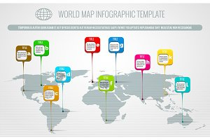 World map pins infographic