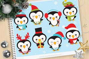 Little Christmas Penguins Clipart