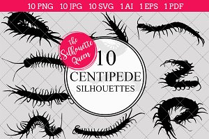 Centipede Silhouette Clipart Clip