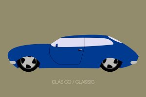 classical blue car