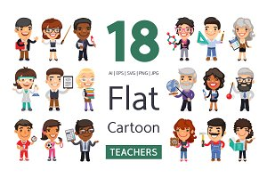 Teachers Flat Cartoon Characters