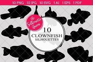 Clown Fish Silhouette Clipart Clip