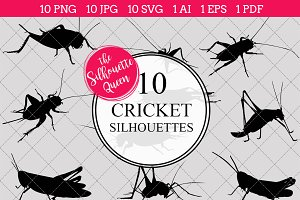 Cricket Insect Silhouette Clipart Cl