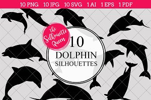 Dolphin Silhouette Clipart Vector