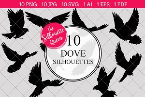 Dove Silhouette Clipart Vector