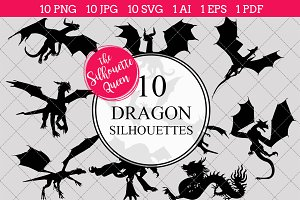 Dragon Silhouette Clipart Vector