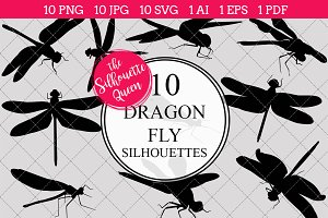 Dragon Fly Silhouette Clipart Vector
