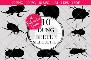 Dung Beetle Silhouette Clipart