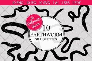 Earthworm Silhouette Clipart Vector