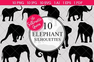 Elephant Silhouette Clipart Vector