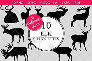 Elk Silhouette Clipart Vector