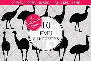Emu bird Silhouette Clipart Vector